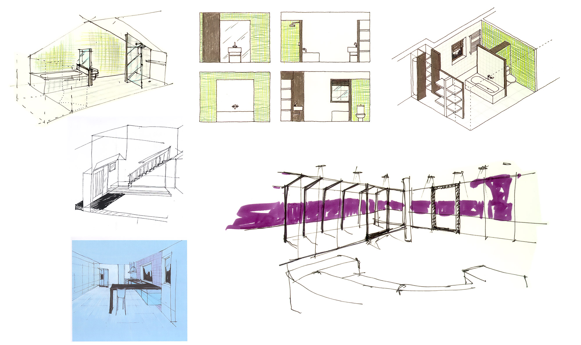 Oxshot House interior design concept drawings