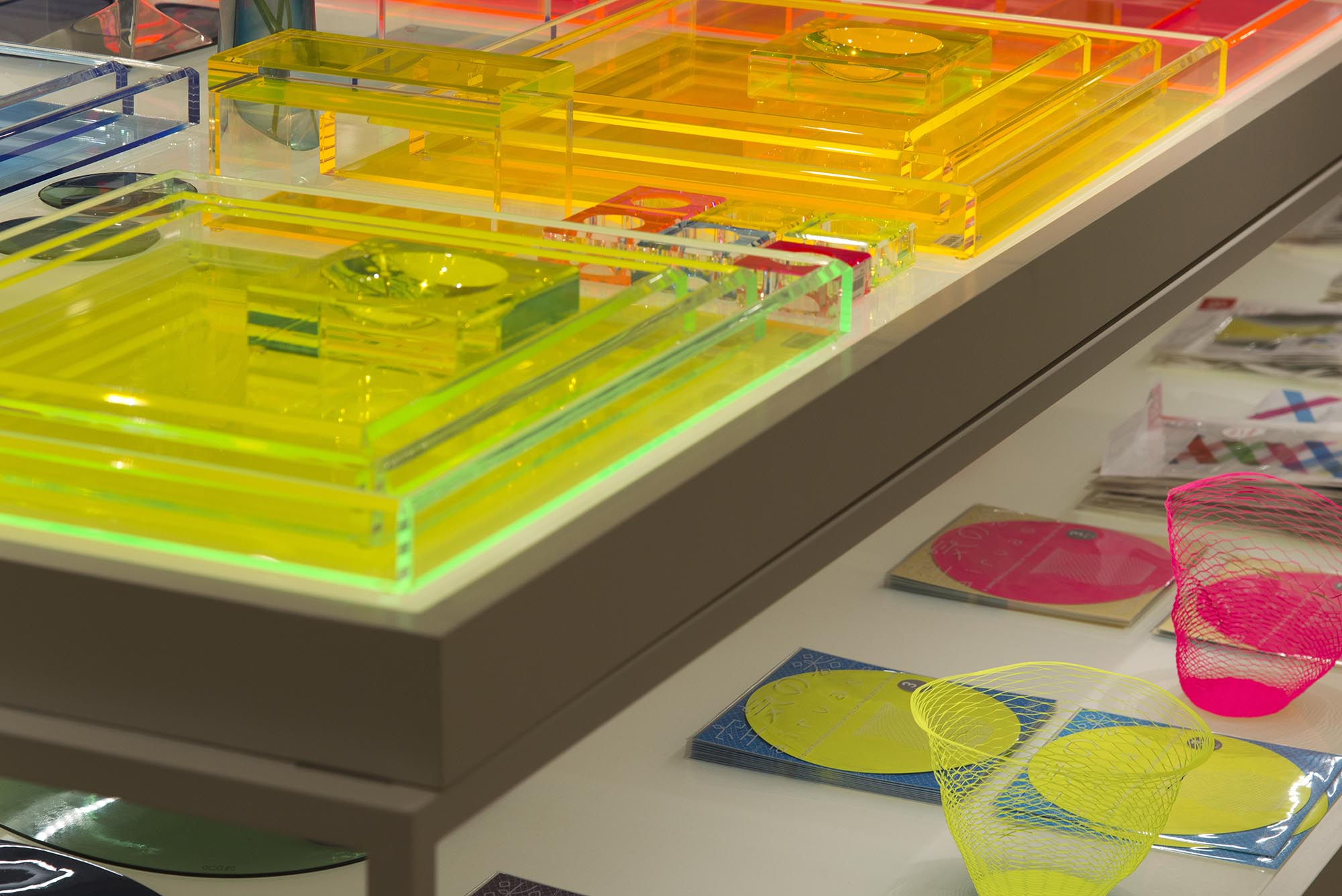 Bespoke LED lit display tables, The Conran Shop, Selfridges, London