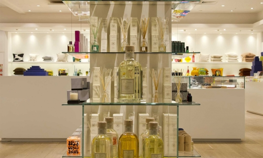 Glass display units featured at The Conran Shop, Selfridges