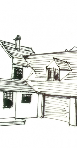 Hand sketch of Oxshot House, Surrey - Made In Place Homes